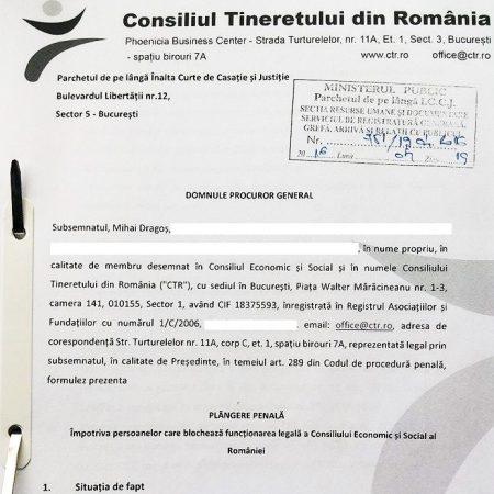 CTR a depus plângere penală referitor la blocajul Consiliului Economic și Social