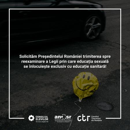 Tinerii solicită Președintelui României retrimiterea în Parlament a Legii privind educația sexuală!