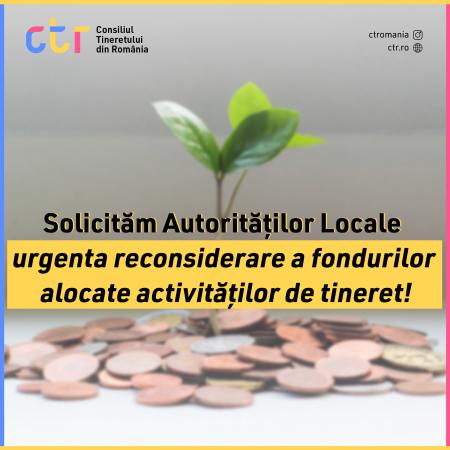 Solicităm autorităților locale urgenta reconsiderare a fondurilor alocate activităților pentru tineret